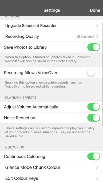 Audio Enhancement Settings on the App