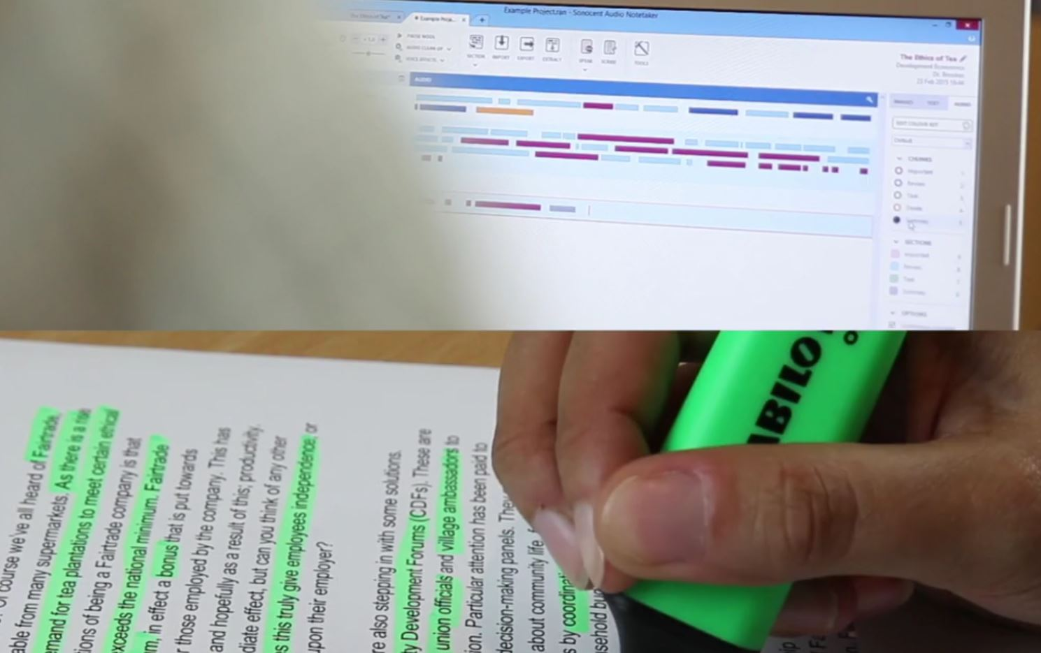 Highlighting text by hand and digitally