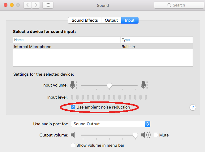 Selecting Noise Reduction in Audio Notetaker