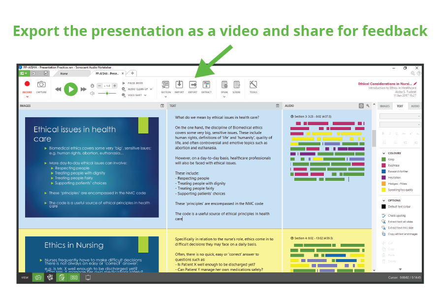 Exporting presentations from Sonocent Audio Notetaker