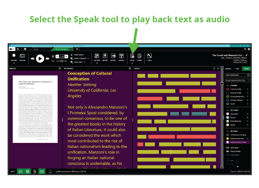 Select the Speak tool to play back text as audio